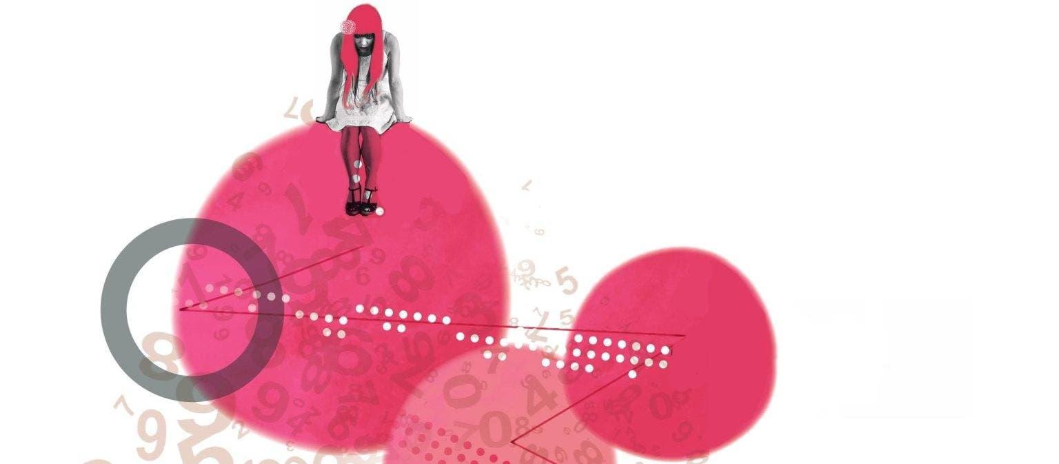 Illustratie van een jonge vrouw die op een rode bloedcel zit. Eronder en ernaast zijn nog meer rode bloedcellen te zien.